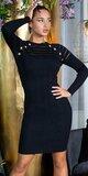 Pletené šaty s priehľadnými pruhmi Čierna