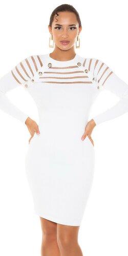 Pletené šaty s priehľadnými pruhmi