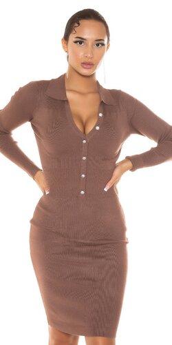 Košeľové pletené šaty