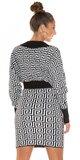 Úpletové šaty labyrint Biela
