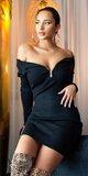 Pletené šaty so zipsom Čierna