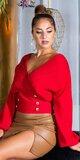 Prekladaný sveter s ozdobnými gombíkmi Červená