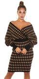 Pletené šaty s motívom blesku Čierna