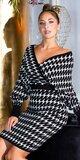 Pletené šaty s motívom blesku Čierno-biela