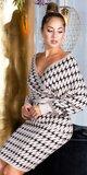 Pletené šaty s motívom blesku Béžová