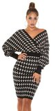 Pletené šaty s motívom blesku Čierno-béžová