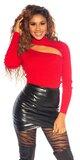 Dámsky pulóver so sexy strihom Červená