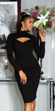 Rolákové pletené šaty midi Čierna