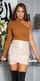 Nazberaná koženková sukňa Béžová