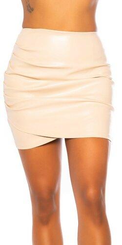 Nazberaná koženková sukňa