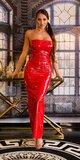Dlhé latexové šaty Červená