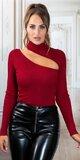 Dámsky pulóver so sexy strihom Bordová