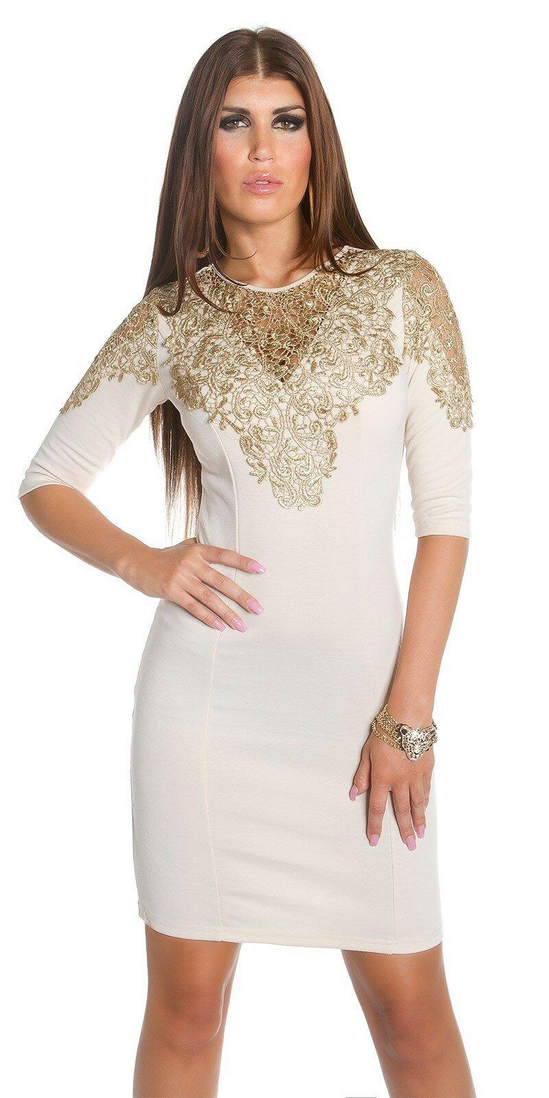 87b4bb5457d4 Dámske Štýlové šaty so zlatou čipkou  Veľkosť S Farba Béžová
