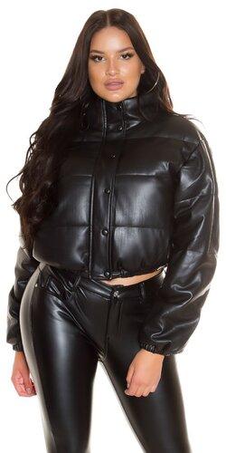 Krátka zimná bunda koženková
