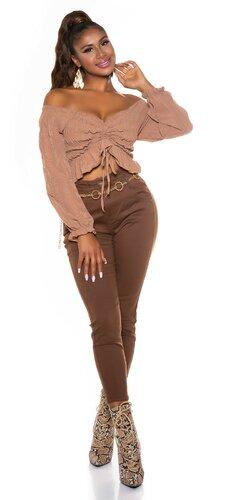 Bavlnené hnedé nohavice s vysokým pásom