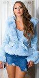 Semišový kabát s kožušinami Modrá