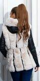 Koženková zimná bunda s kožušinou a opaskom Čierno-béžová