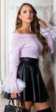 Dámsky sveter s tylovými volánikmi Lilac