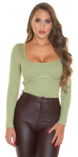 Vrúbkovaný sveter s tvarovaným dekoltom