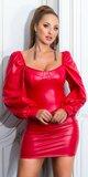 Koženkové šaty s voľnými dlhými rukávmi Červená