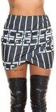 Wrap pletená sukňa s potlačou Čierna