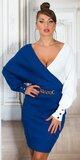Dvojfarebné pletené šaty s hlbokým dekoltom Modrá