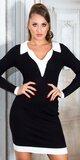 Elegantné pletené šaty s golierom Čierna
