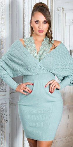 Pletené šaty s čipkou okolo krku