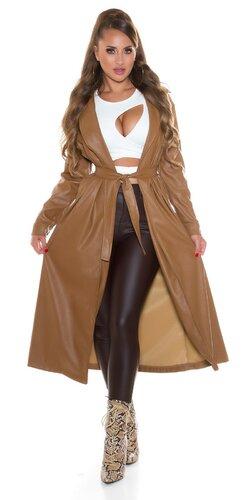 Dlhý dámsky koženkový kabát s opaskom