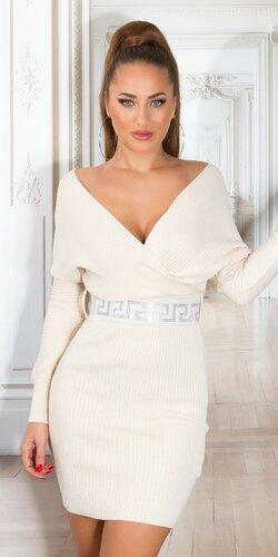 Pletené šaty so širokým opaskom