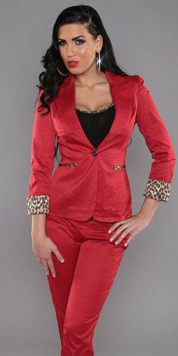 Dámske sako s leopardími aplikáciami Červená