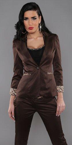 Dámske sako s leopardími aplikáciami | Hnedá