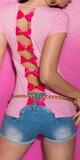 Dámske tričko s výstrihom na chrbte Bledá ružová