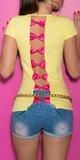 Dámske tričko s výstrihom na chrbte Žltá