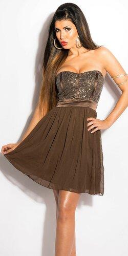Dámske mini šaty s voľnou sukňou | Hnedá