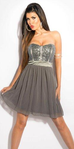 Dámske mini šaty s voľnou sukňou | Šedá tmavá