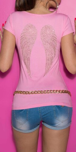 Tričko s anjelskými krídlami na chrbte Bledá ružová