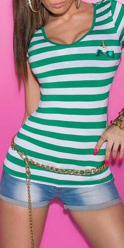 Dámske prúžkované tričko s námorníckou brošňou Zelená