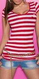 Dámske prúžkované tričko s námorníckou brošňou Červená