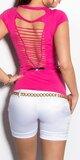 Dámske letné tričko s výstrihom na chrbte v 11 farbách Ružová