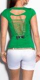 Dámske štýlové tričko s výstrihom na chrbte v 11 farbách Zelená