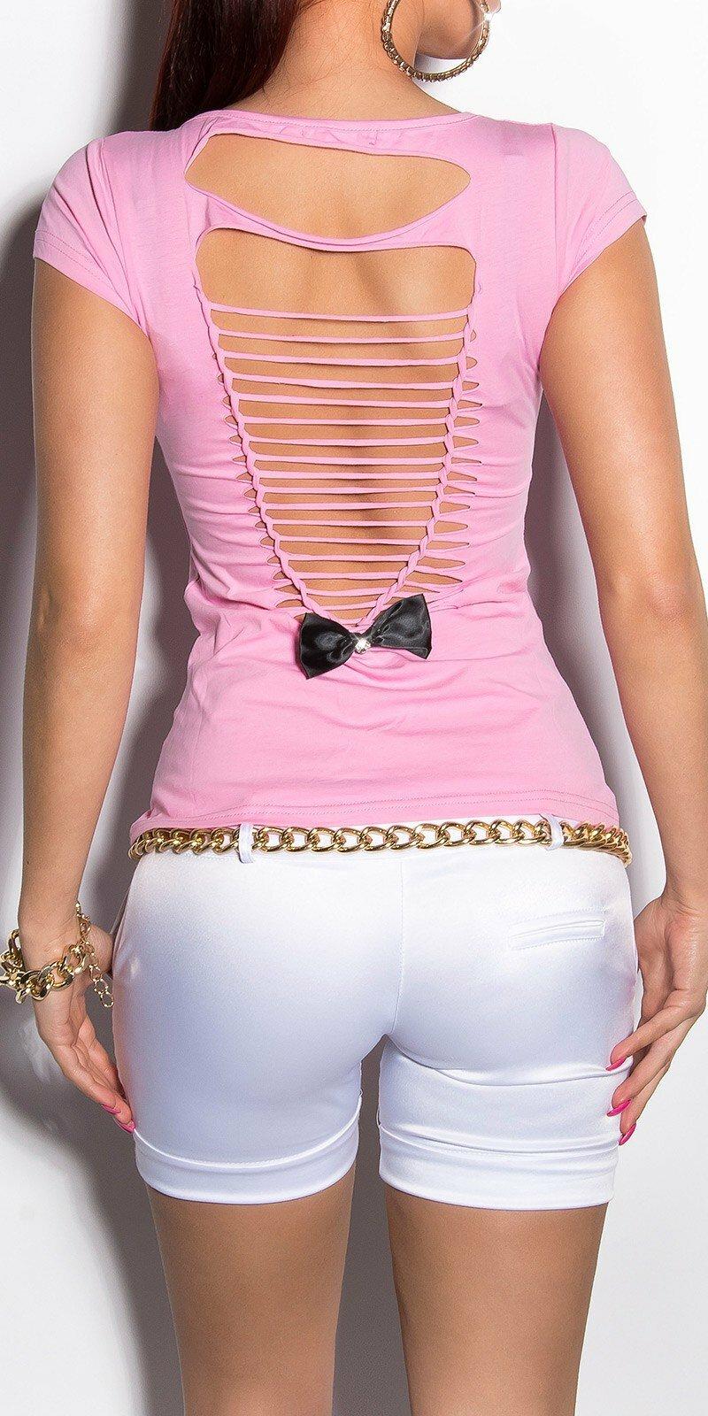 071a9dcd4 ... Dámske letné tričko s výstrihom na chrbte v 11 farbách Bledá ružová ...