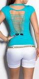 Dámske štýlové tričko s výstrihom na chrbte v 11 farbách Tyrkysová