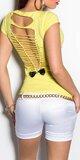Dámske štýlové tričko s výstrihom na chrbte v 11 farbách Žltá