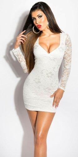 Dámske čipkované šaty s dlhým rukávom | Krémová