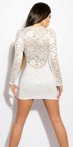 Dámske čipkované šaty s dlhým rukávom Krémová
