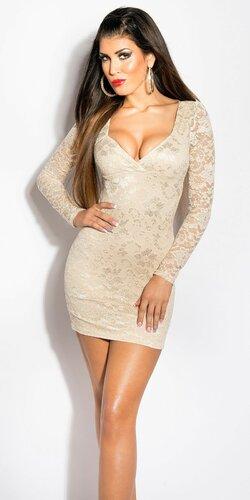 Dámske čipkované šaty s dlhým rukávom | Béžová
