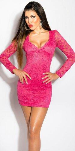 Dámske čipkované šaty s dlhým rukávom | Ružová