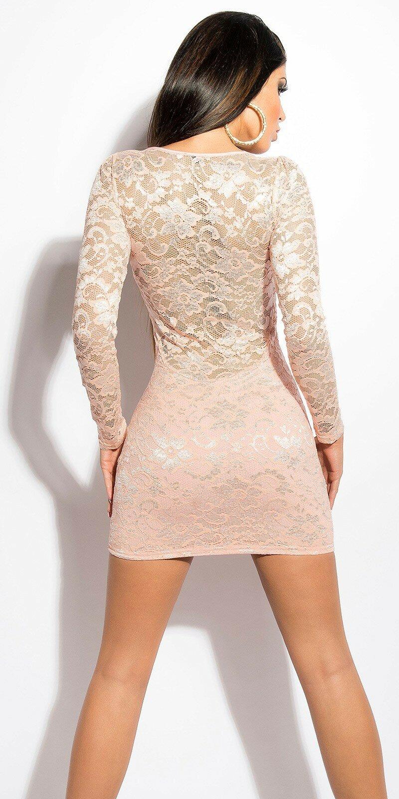 ... Dámske čipkované šaty s dlhým rukávom Bledá ružová ... de2c2824a74